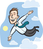Businessman flying in the sky Stock Images