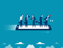 Businessman flying on smartphone Royalty Free Stock Image