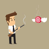 Businessman flying target accurately Royalty Free Stock Photo