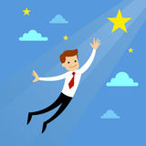 Businessman Flying To Catch Stars Royalty Free Stock Image