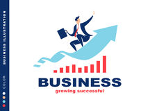 Businessman flying to success, illustration Royalty Free Stock Photos