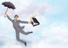 Businessman flying with umbrella Royalty Free Stock Image