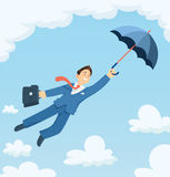 Businessman flying with umbrella in sky. Royalty Free Stock Photo