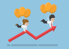 Free Businessman Flying Up On Balloon And Help Graph Growth. Royalty Free Stock Image - 89680986
