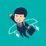 Businessman flying. Vector cartoon businessman flying success Stock Photo
