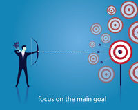 Businessman focus to hit target with bow and arrow Stock Photo