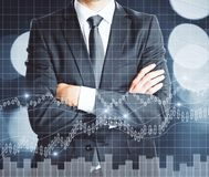 Finance concept. Businessman with folded arms and abstract forex chart. Finance concept. Double exposure Royalty Free Stock Photography