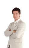 Businessman with folded arms isolated Stock Photography