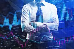 Trade and finance concept. Businessman with folded arms standing on abstract forex chart background. Trade and finance concept. Double exposure Stock Image