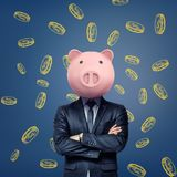 A businessman with folded arms stands wearing a pink pig mask on a background with chalk golden coins. stock photo