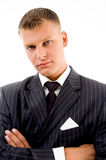 Businessman with folded hands Stock Photos