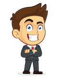 Businessman with Folded Hands. Clipart Picture of a Male Businessman Cartoon Character with Folded Hands Royalty Free Stock Photo