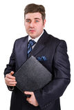 Businessman with folder Royalty Free Stock Image