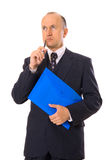 Businessman with folder thinking Royalty Free Stock Photo