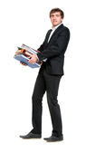 Businessman with folders Stock Images
