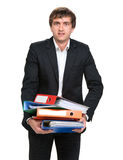 Businessman with folders Royalty Free Stock Image
