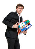 Businessman with folders Stock Photos