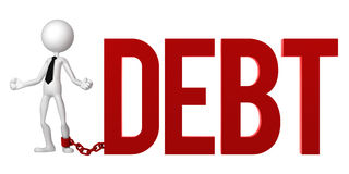 Businessman with a foot chained to a DEBT sign. Stock Image