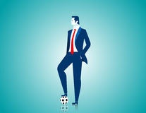 Businessman with football. Concept business illustration. Vector flat Stock Image