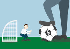 Businessman with football and goalkeeper Royalty Free Stock Photos