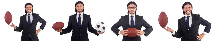 The businessman with football isolated on white Royalty Free Stock Photography