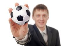 Businessman with football Royalty Free Stock Image