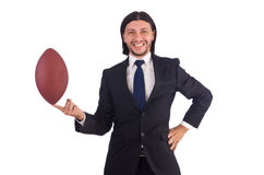 Businessman with football isolated Royalty Free Stock Photo