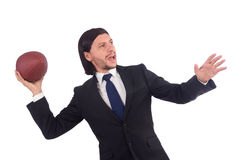 Businessman with football isolated Stock Photos