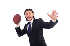 Businessman with football isolated Stock Photo