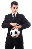 The businessman with football isolated on white Stock Photo