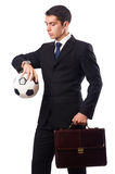 The businessman with football isolated on white Royalty Free Stock Images