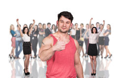 Businessman foreground on the blurred people Royalty Free Stock Photos