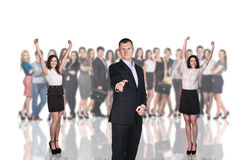 Businessman foreground on the blurred people Stock Photos