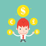 Businessman and foreign currency. Vector cartoon business Stock Images