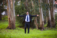 Businessman in the forest Royalty Free Stock Image
