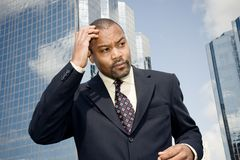 Businessman forgetting fear Stock Images
