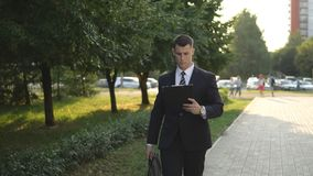 Business people while working near office building royalty free stock photo