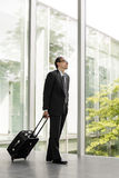 Businessman in formal wear holding luggage Stock Images