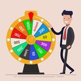 Businessman with Fortune wheel. Business concept. Flat vector illustration isolated on light background. Businessman with Fortune wheel. Business concept. Flat Stock Photography