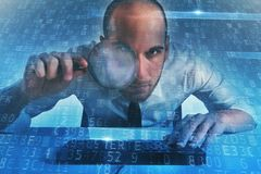 Businessman found a backdoor access on a computer. Concept of internet security. Businessman found a backdoor illegal access on a computer. Concept of internet stock photo
