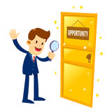 Businessman Found A Golden Opportunity Door Stock Images