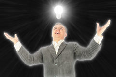 Businessman found idea lamp collage Royalty Free Stock Image