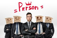 Businessman and four people with jute bags on their heads with the word `Person` and a crown above on white background vector illustration