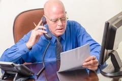 businessman framed office phone photo vertically Στοκ Εικόνα