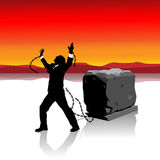 Businessman Freedom. Businessman breaks free from the chains holding him back. Heavy stone block on sledge is symbolic of his problems royalty free illustration