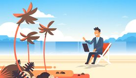Businessman freelance remote working place beach summer vacation tropical palms island business man suit using laptop. Horizontal flat vector illustration vector illustration