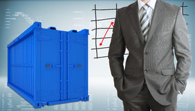 Businessman with freight shipping container Royalty Free Stock Photography