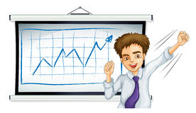 A businessman in front of the board with a graph. Illustration of a businessman in front of the board with a graph on a white background Stock Image