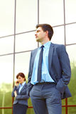 Businessman in front of building Royalty Free Stock Images