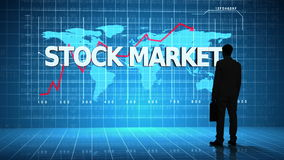 Businessman in front of global business interface with the word Stock Market stock footage